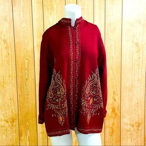 Suzani Women's Wool Coat Red Embroidered